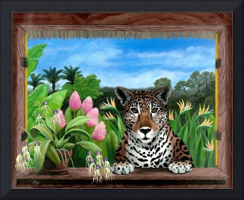 Jaguar and Orchids - Tropical Wildlife Floral