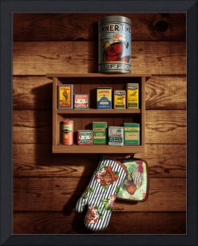 Old Spice Rack Tin Seasoning Herb Kitchen Food Art