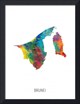 Brunei Watercolor Map