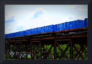 Blue Containers on Rail in Richmond, Virginia