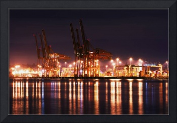 Reflections of Vancouver Port at night photography