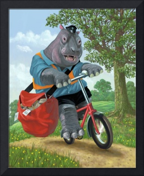 hippo post man on cycle
