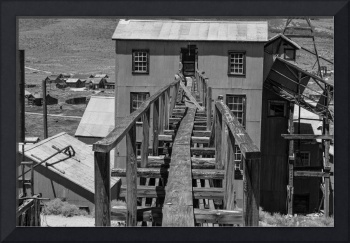 The backside of the Standard Mill in Bodie, CA