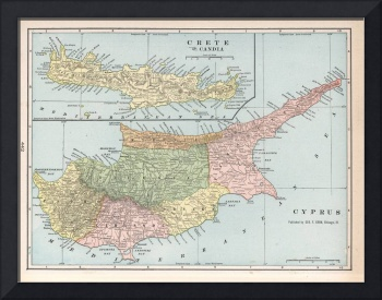 Vintage Cyprus and Crete Map (1901)