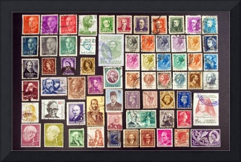 Faces on stamps.