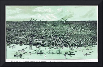 Detroit Michigan Panoramic Map