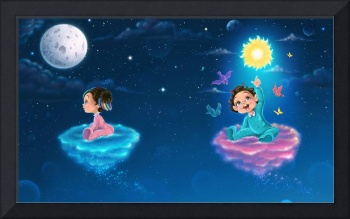 Art print of two little babies flying in the night