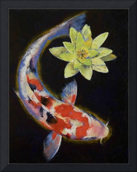 Koi with Yellow Water Lily