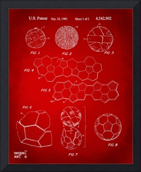 Soccer Ball Construction Patent Artwork Red