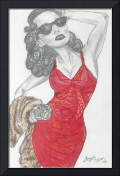 Lady in Red..Original Pencil Sketch