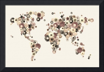 Flower World Map Sepia