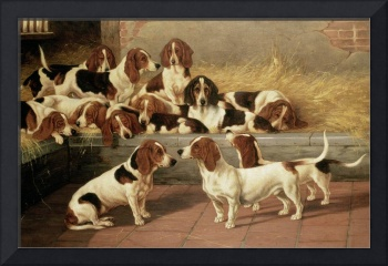 Basset Hounds in a Kennel, 1894 (oil on canvas)