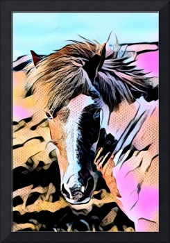 Horse Face Pop Art Comic Style