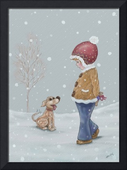 Boy in Snow with doggy