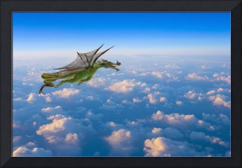 Dragon flying over beautiful clouds with tongue