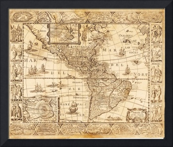 North and South America Map, America noviter delin