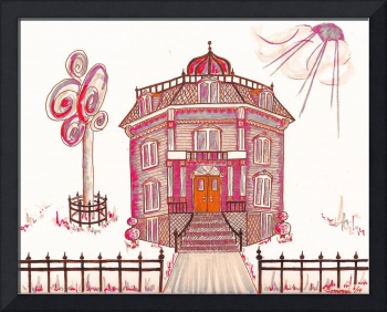 Victorian House in Pink & Red