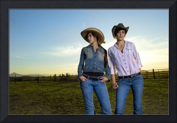 Twin Cowgirls at Sunset