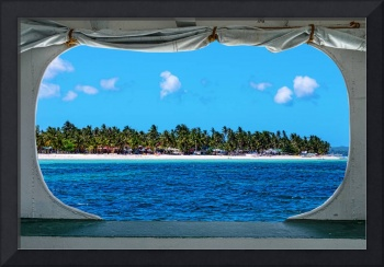 Tropical Island Boat Window View