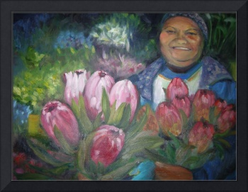 Flower seller with proteas