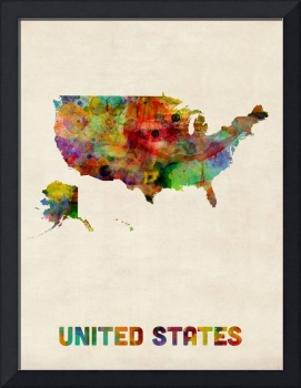 United States, Watercolor Map