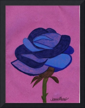 Blue Rose on Purple