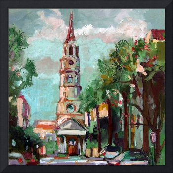St Phillips Church Charleston SC Oil Painting Gine