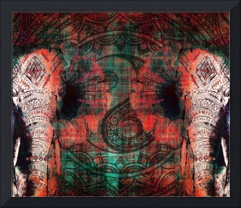 Bohemian Elephants Rich Warm Ethnic Mandala
