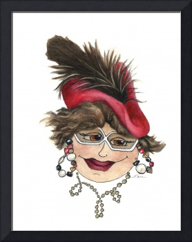 Whimsical Lady with Red Hat and Jaunty Feather