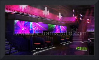 3D Interior Design Rendering For Modern Bar