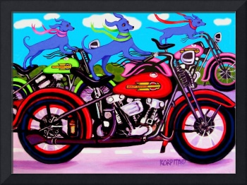 Dawgs on Hawgs - Funny Blue Dogs on Motorcycles