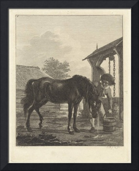 Man shows a horse drinking from a bucket, Joannes