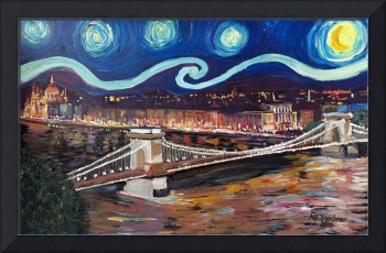 Starry Night in Budapest Hungary with Danube and P