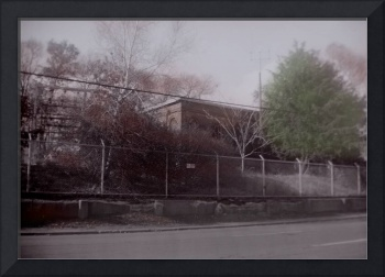 substation hand colored black and white photo