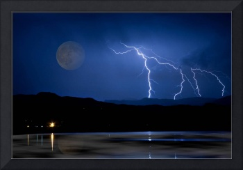 Full Moon Misty Lake Lightning Storm Fine Art
