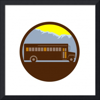 School Bus Vintage Mountains Circle Retro