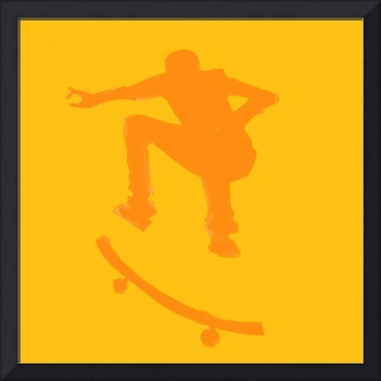 Skateboarder 2 . orange gold (c)