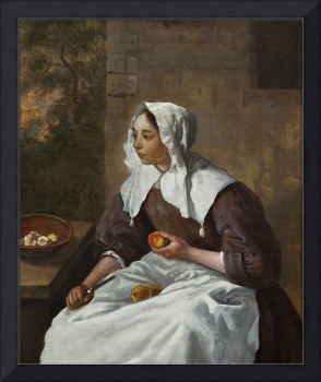 Gabriel Metsu~A Girl Peeling Apples