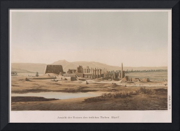 Vintage Illustration of the Thebes Ruins (1856)