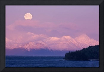 Full Moon Sets Over The Chilkat Mountains And Lynn