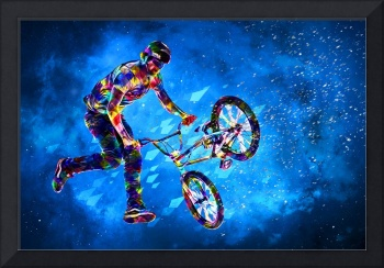 Colorful Crayon BMX Stunt in Space