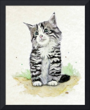 Cutie Little Kitten in Watercolor