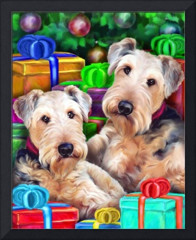 Airedale Terrier Christmas Can We Open Them NOW?!