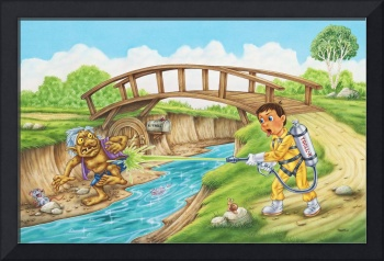 Troll, river, bridge, boy, illustration
