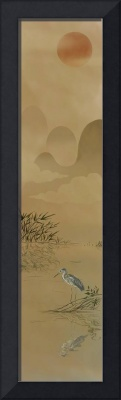 Oriental Scroll Art: Day With Blue Heron