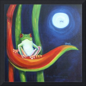 Red Eyed tree frog under a full moon