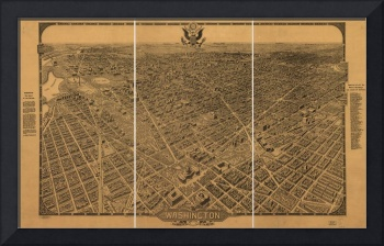 1922 Washington D.C. Bird's Eye View Panoramic Map