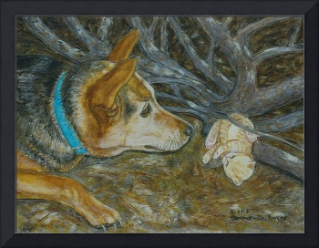 Our Pet Dog with Her Kitty Painting