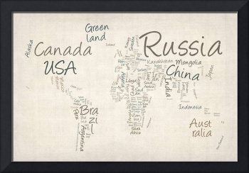 Writing Text Map of the World Map