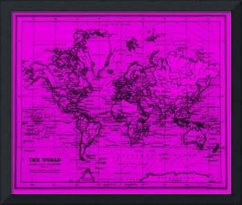 World Map (1899) Purple & Black